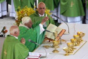 El papa Benedicto XVI (c) durante la ceremonia de canonización de cuatro nuevos santos, entre los que se encuentra el obispo mexicano Rafael Guízar y Valencia.