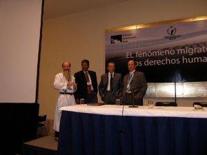 P. Flor Maria, Mtro. Rodolfo Casillas, Dr. Hugo Ángeles y el Dr. Javier Moctezuma, panel que nos hizo reflexionar sobre la frontera sur de México