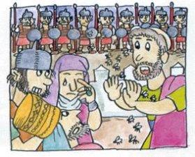 """6. Se consultó a Isaías sobre qué podrían hacer. Éste respondió: Dios dice: """"No entrarán en Jerusalén: Yo defenderé esta ciudad y la libraré"""". Y una terrible peste se extendió por el campamento asirio que ni siquiera pudo atacar la ciudad.<br />"""