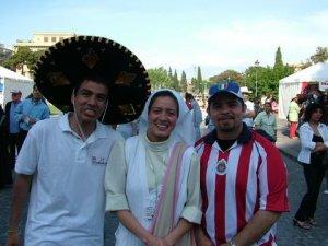 Él de sombrero es Jorge Guerra, Seminarista Scalabriniano de San Felipe, Gto.