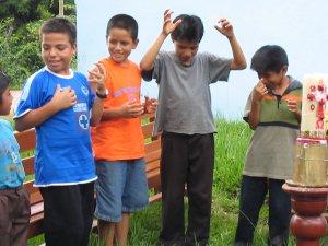 El entusiasmo de los niños...