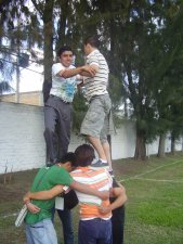 Armando pirámides, trabajando en equipo.