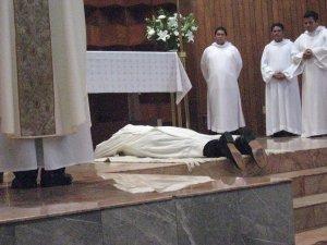 se invoca la intercesion de los santos y martires para que lo ayuden a llevar a buen fin esta obra que Dios comienza