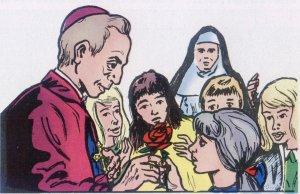 En aquél mismo tiempo abrió un Instituto para sordomudas. En una visita una niña, para expresarle la gratitud de todas,  ofreció una rosa al obispo, que quedó emocionado.