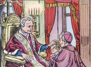 En una peregrinación en Roma tuvo la alegría de recibir del Papa Pío IX una cruz pectoral, como signo de estima y de afecto.